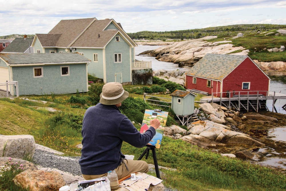 The colorful homes surrounding Peggy's Cove come to life on an artist's canvas. Set on picturesque St. Margarets Bay, the village is a popular spot for artists and photographers.