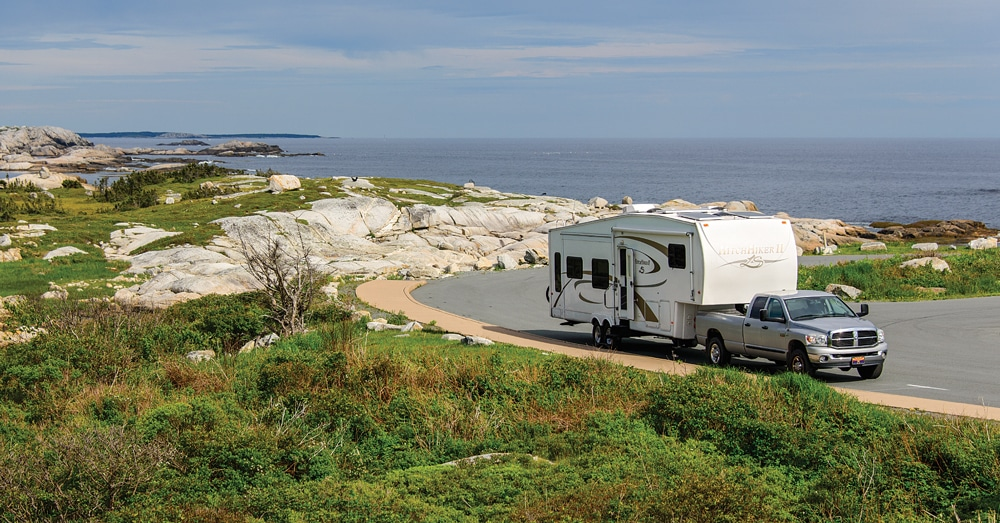 A trip to Nova Scotia is well worth the miles to get there. Some coastal routes are suitable for large RVs, but it's best to unhitch and take the tow vehicle on all but the main roads.