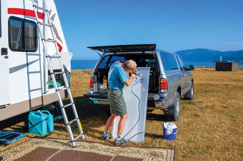 Household chores and improvement projects don't go away when trading a stationary home for an RV, though there's no lawn to mow and less floor to vacuum.