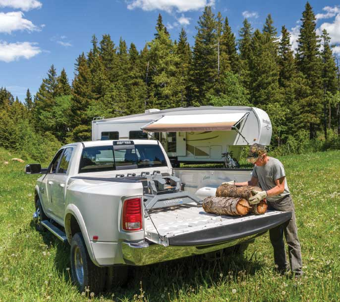 Heavy-duty hauler: Whether transporting logs or towing their fifth-wheel, the Fagans' one-ton diesel gets a full-time workout.