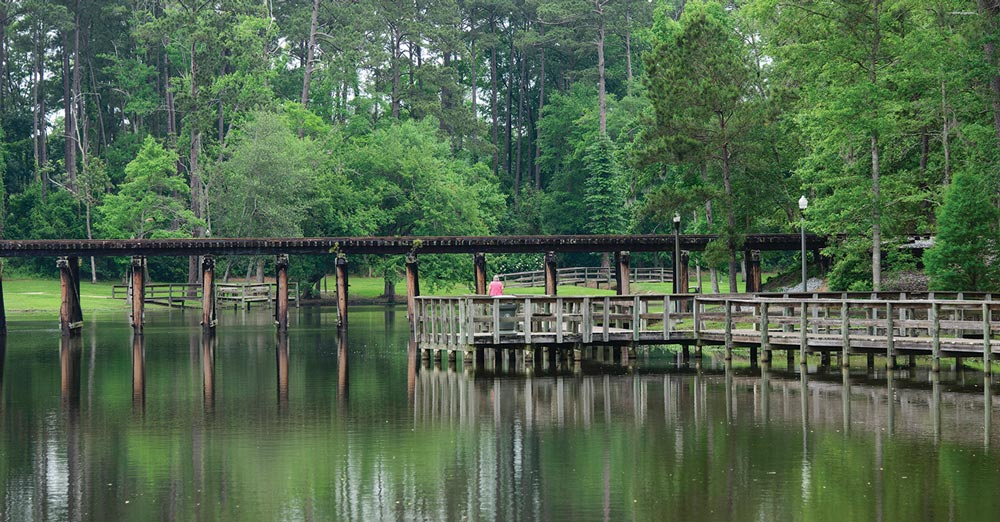 Cherokee Lake Park in Thomasville inspires exploration with fishing piers and a mile-long paved walking path that meanders through lush lawns and takes in the pretty lake views.