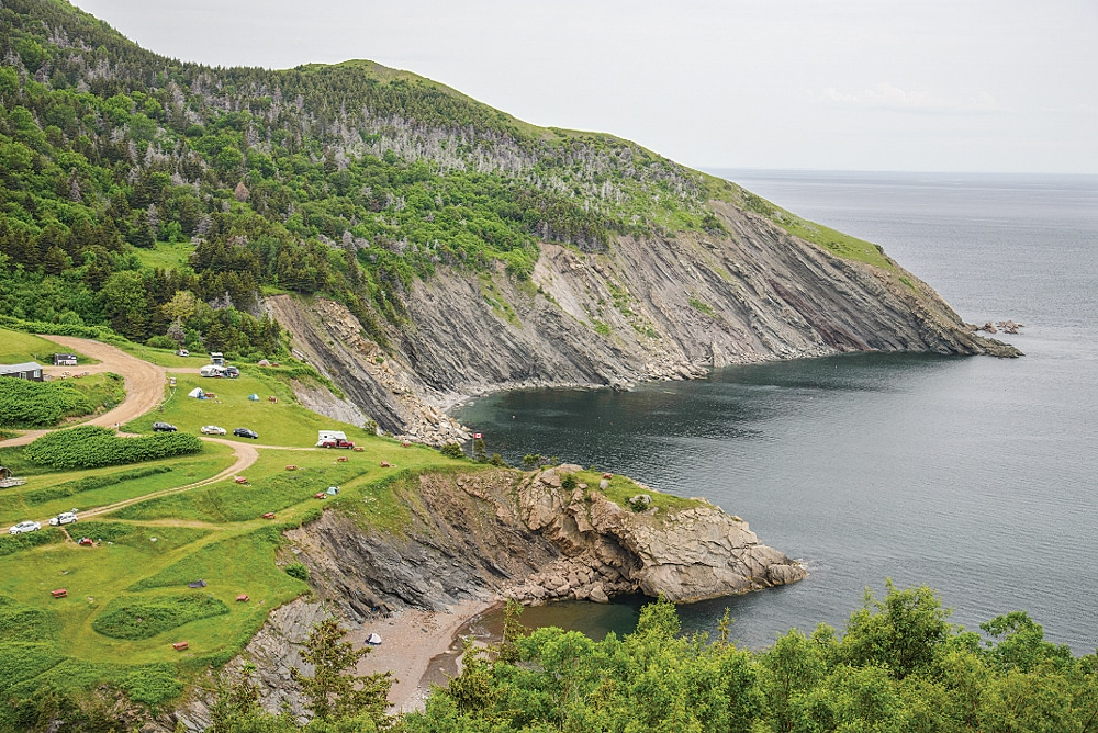 Meat Cove Campground is perched high above the sea on Cape Breton Island.