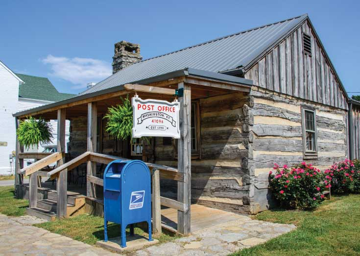 A few miles from Maysville, the historic settlement of Washington was incorporated in 1786 and has been processing mail since 1789.