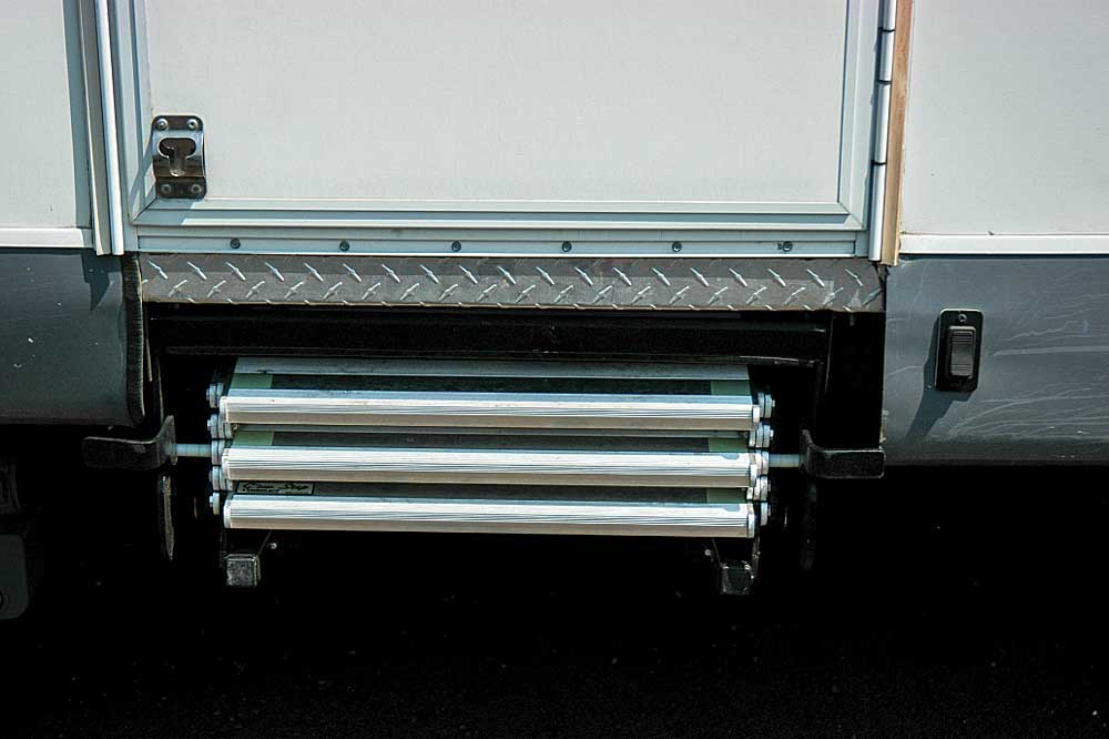 Step It UP: Torklift's GlowStep Revolution can be installed in the factory openings of most travel trailers and fifth-wheels. When retracted, the rungs fold nicely into the allocated space.