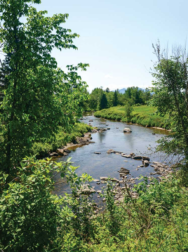 The Israel River makes its rocky way east of Lancaster near three antique bridges.
