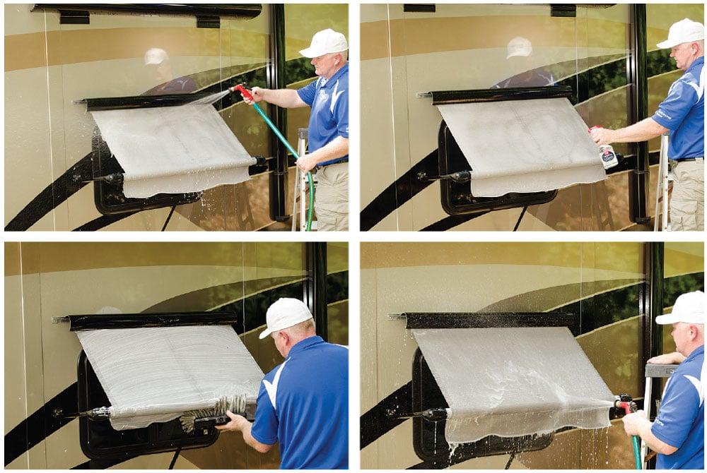 Man cleaning motohome awning