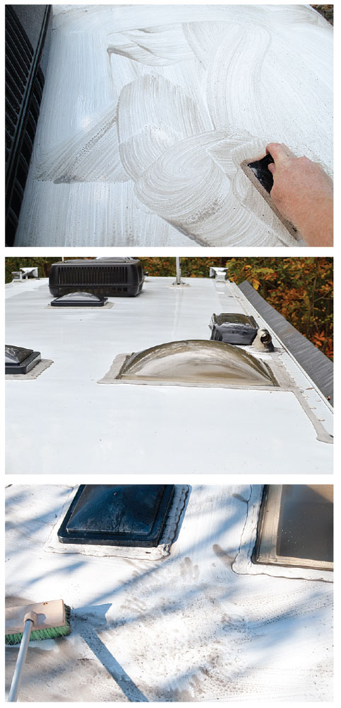 Cleaning the roof of a motorhome
