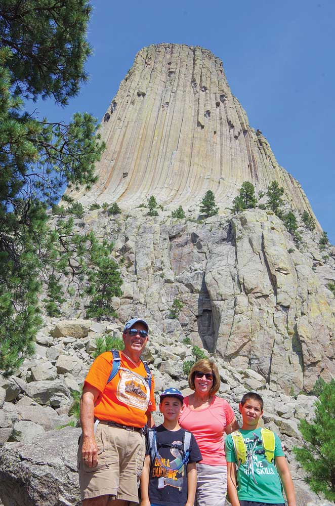 Hot and sweaty, but smiling, we finish our hike all the way around Devils Tower.