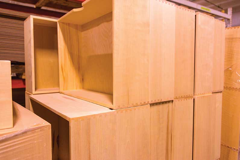 drawers with dovetail joints are stacked at The RV Factory in Elkhart, Indiana.