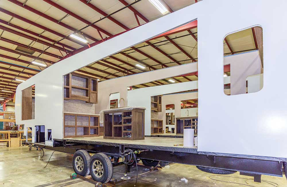 A fifth wheel trailer in the early stages of construction at the K-Z RV factory in Shipshewana, Indiana.