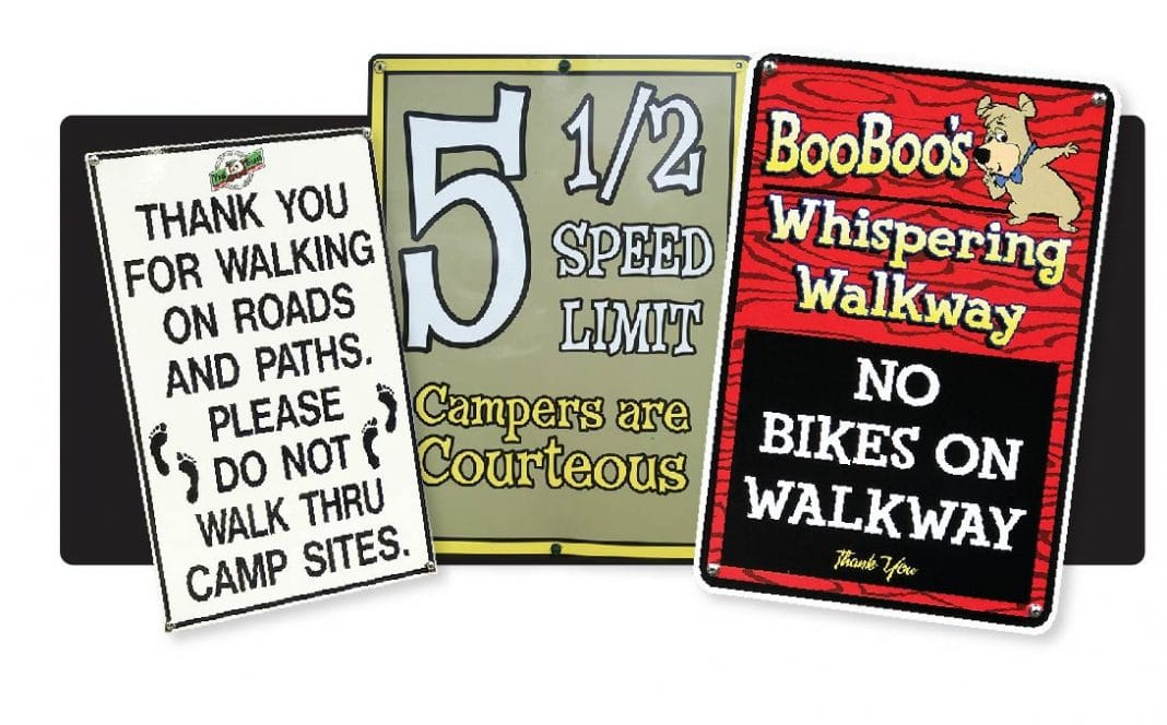 RV signs for no bikes and speed limit
