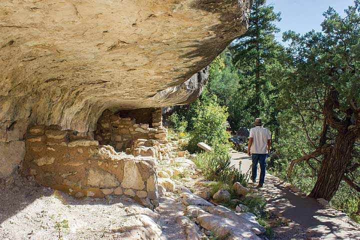 The paved 1-mile Island Trail in Walnut Canyon National Monument passes by 25 cliff dwellings that were inhabited more than 700 years ago by the Sinagua.