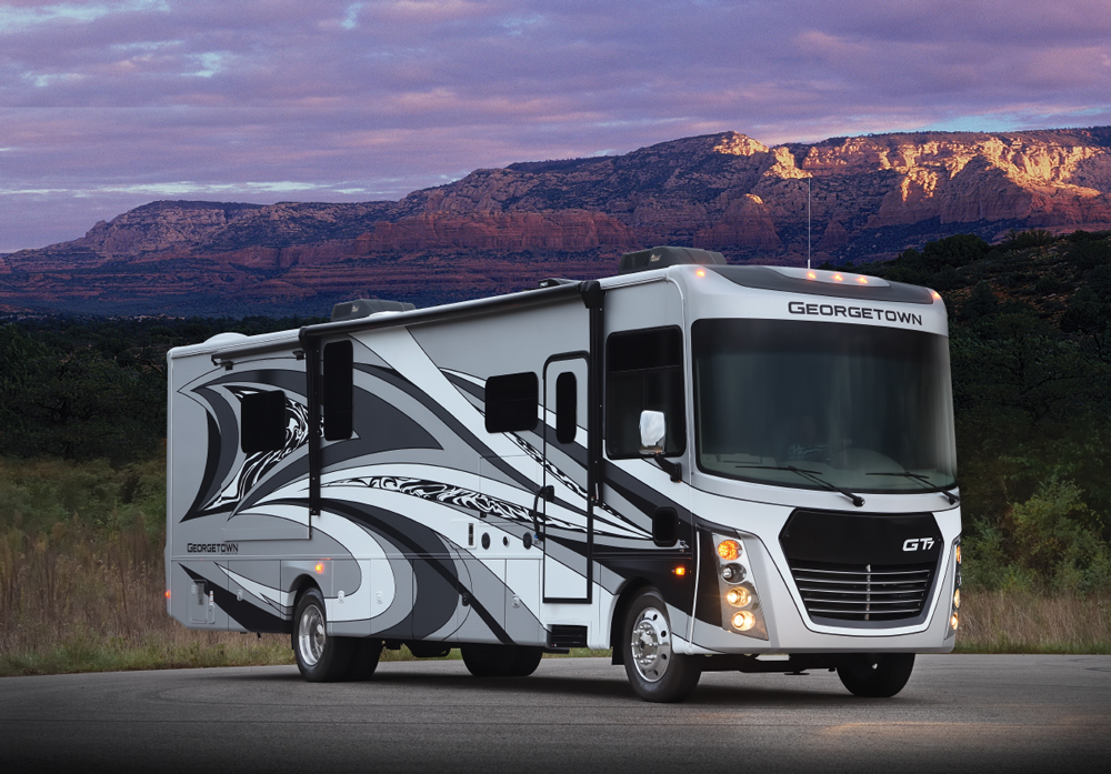 Forest River — Georgetown GT7 36D7 Class A motorhome in a mountain setting
