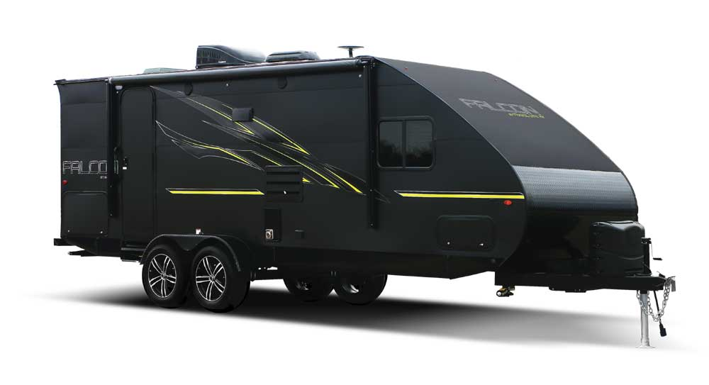 Black with bright green stripping detail Travel Lite Falcon 27BHK trailer