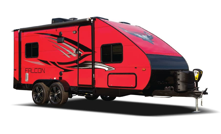 Bright red Travel Lite Falcon trailer