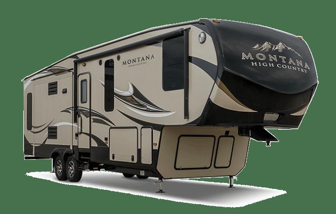 Keystone Montana beige and brown fifth wheel