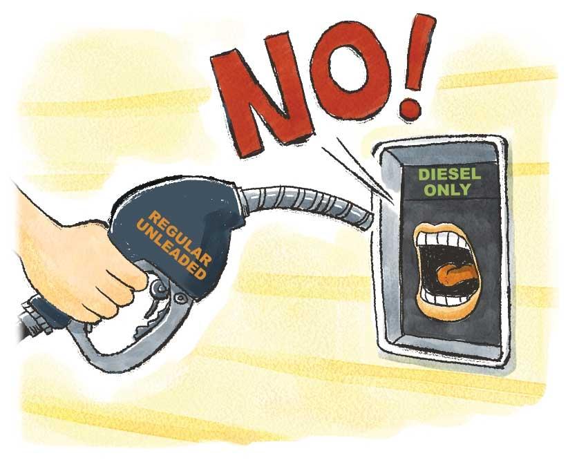 Illustration of diesel fuel saying No to regular fuel