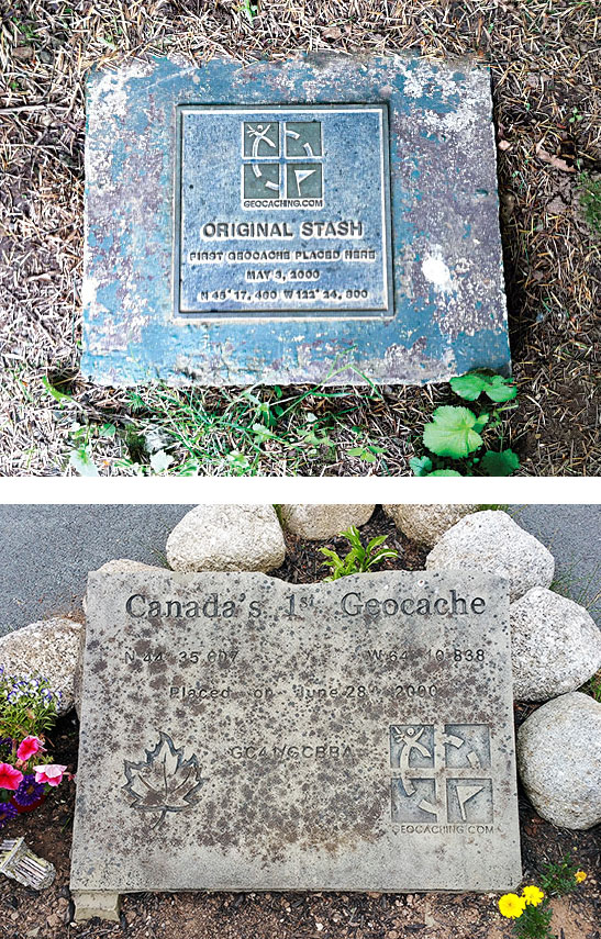 Geocache plaques in Oregon (top) and Nova Scotia (bottom).