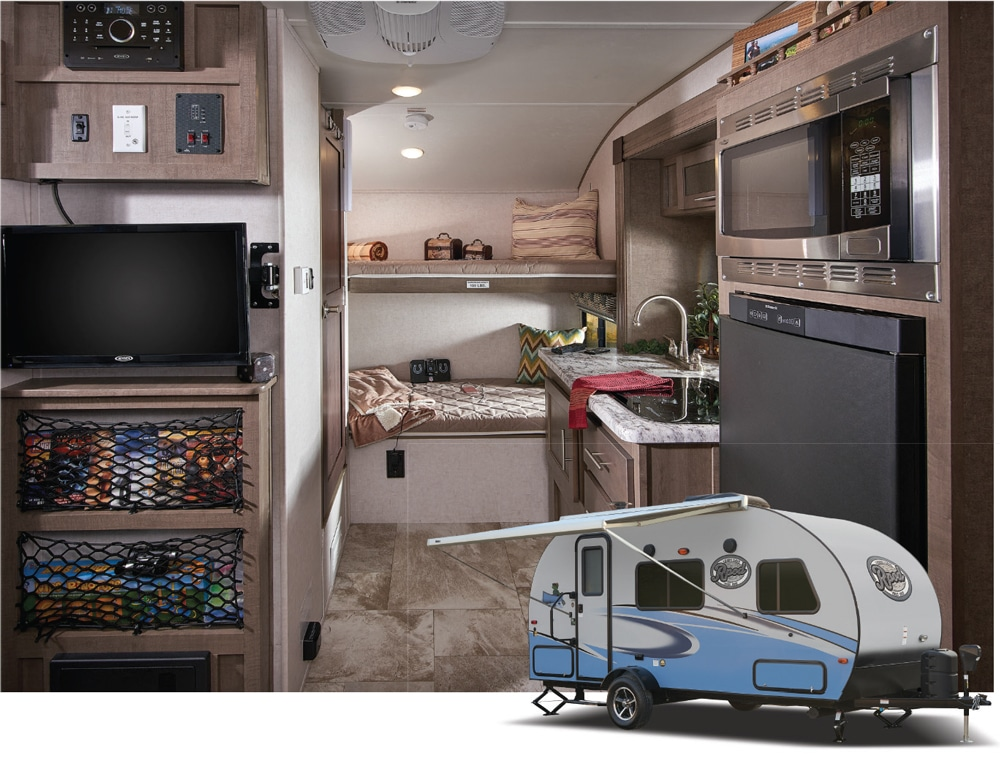 Forest River R-Pod exterior and interior kitchen with entertainment center and bunkhouse