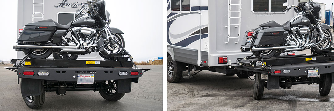 Two views of motorcycle on Freedom Hauler attached to fifth-wheel trailer