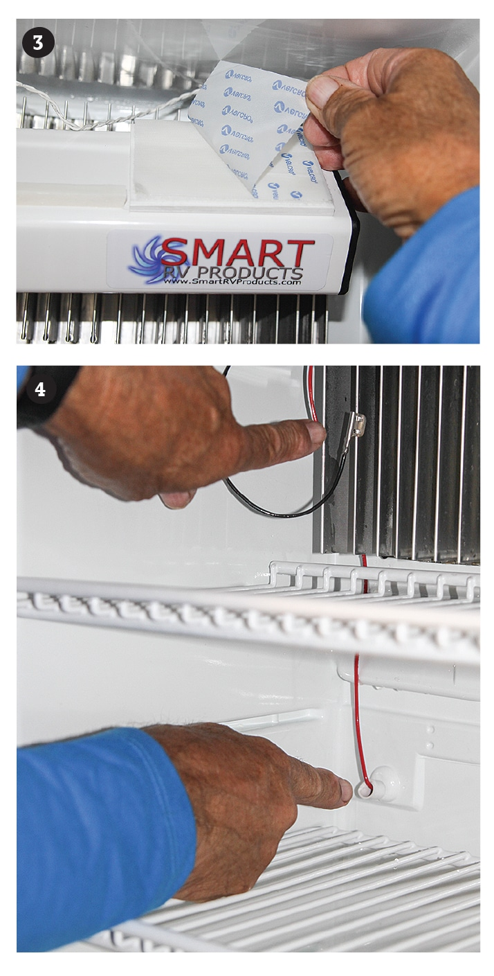 [3] After peeling the hook-and-loop backing, press into place for 10 seconds to ensure a complete adhesion. [4] Attach the ground clip to one of the refrigerator's interior evaporator fins and route the red wire through the condensation drain tube.