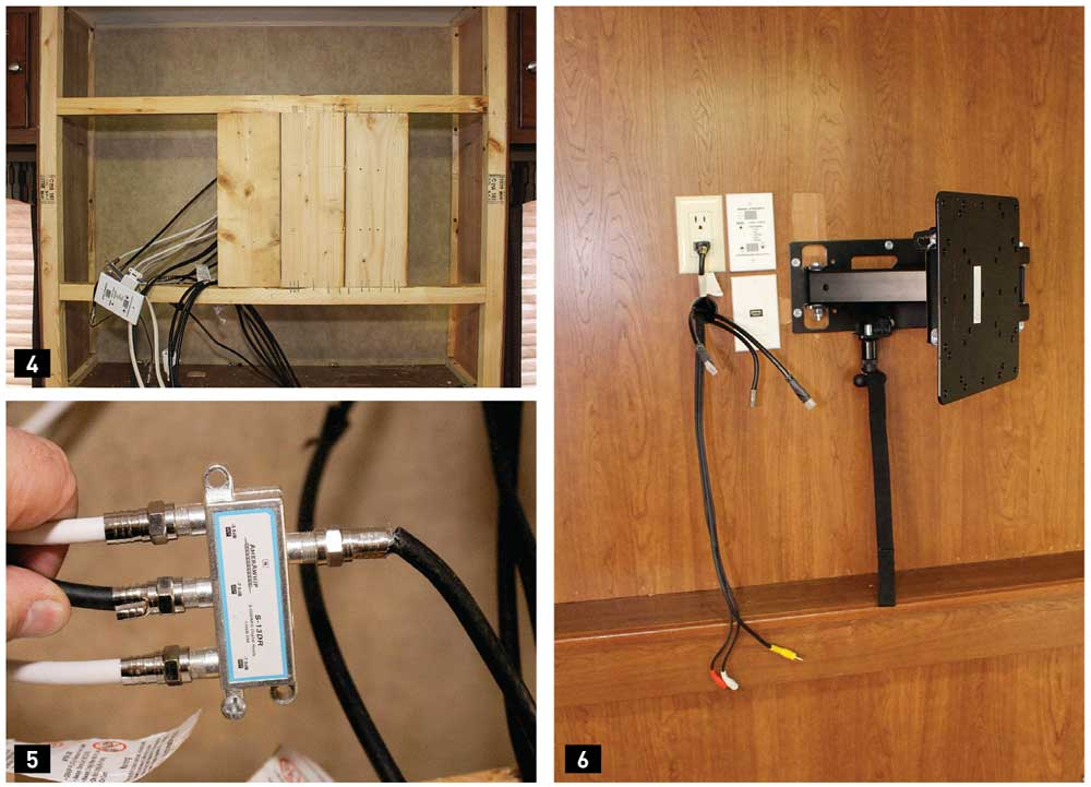 4) The framed wall, designed for the old TV mount, was modified for the new mounting bracket, which attached to the wall in the center behind the TV. We stripped the wall and added a 2x6-inch board for this modification. We used 2x6 lumber because that was what the manufacturer had used in the wall, but the TV is light, and smaller dimensioned lumber could have been used. 5) Upon opening the wall, we found bad coax connections that were the source of an annoying static condition. We replaced all the connections with professional-grade RG-6 connectors. 6) Additional HDMI cables were routed to the entertainment center; one existing cable was reused, along with the component cables for connecting to the system components, including the Furrion stereo.