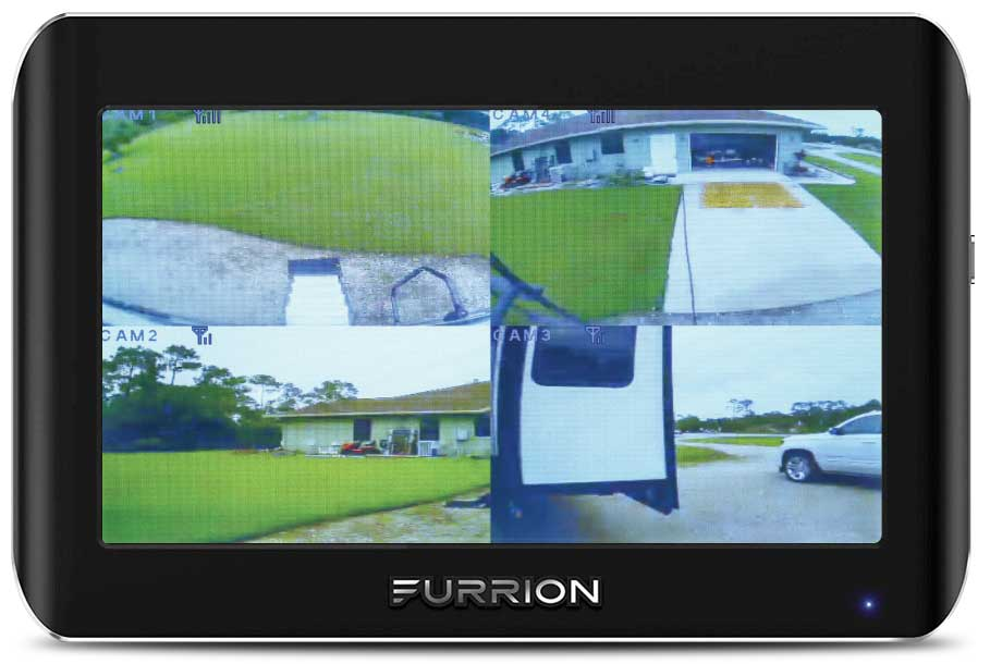 Screen shows four views of the furrion Vision S four-camera vehicle-observation system