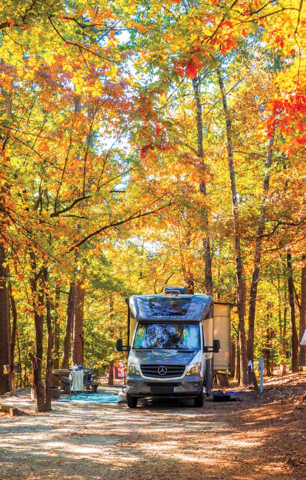 A motorHome is parked in a campsite at Tallulah Gorge State Park with brilliant fall colors overhead