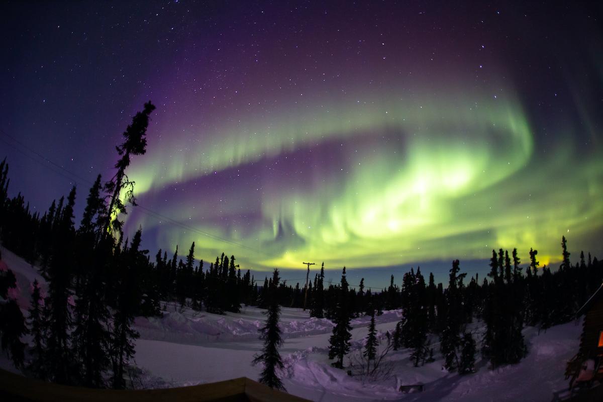 Beautiful aurora borealis in Fairbanks, Alaska