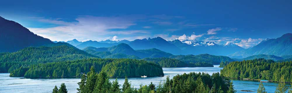 An aerial view of the Tofino area off the west coast of Vancouver Island on Clayoquot Sound, blessed with lush old-growth forests, beautiful beaches and spectacular views.