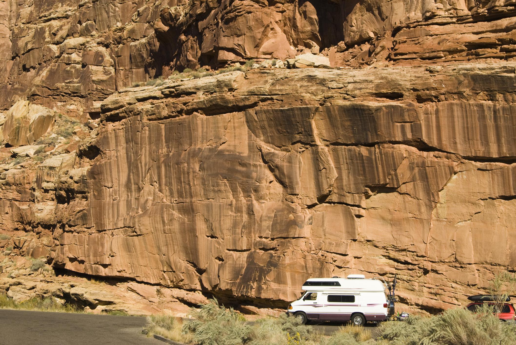 RV driving on the road in Capital Reef Utah