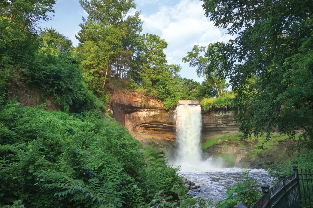 Grand Rounds circles Minneapolis and comes to a city park with Minnehaha Falls as its centerpiece.