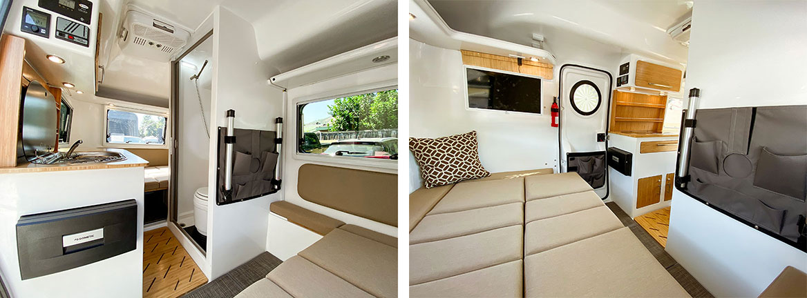 Two interior views of the HCT trailer showing the bathroom, kitchen and bed setup
