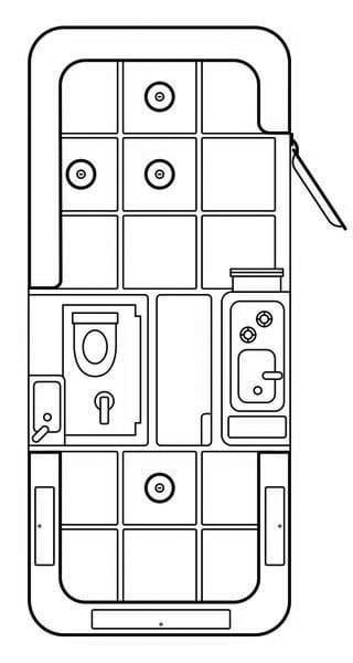 Line drawing of HCT trailer floorplan
