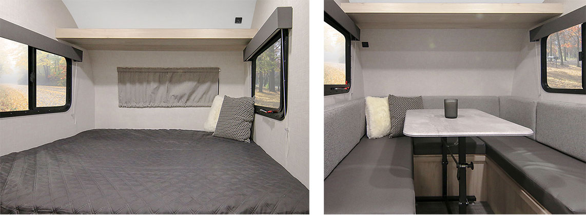 Gray bedding on queen bed and dinette with gray cushions.