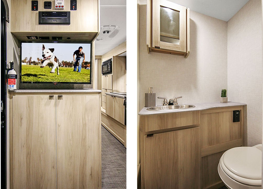 Side by side photos of entertainment center with TV and bathroom with mirrored medicine cabinet.