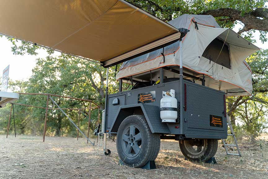 Highland Expedition trailer with awning extended.