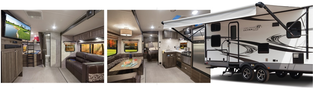 Highland Ridge Open Range Ultra Lite exterior with awning and dinette with kitchen and bunkhouse