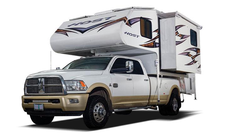 Host slide-in camper on Ram truck