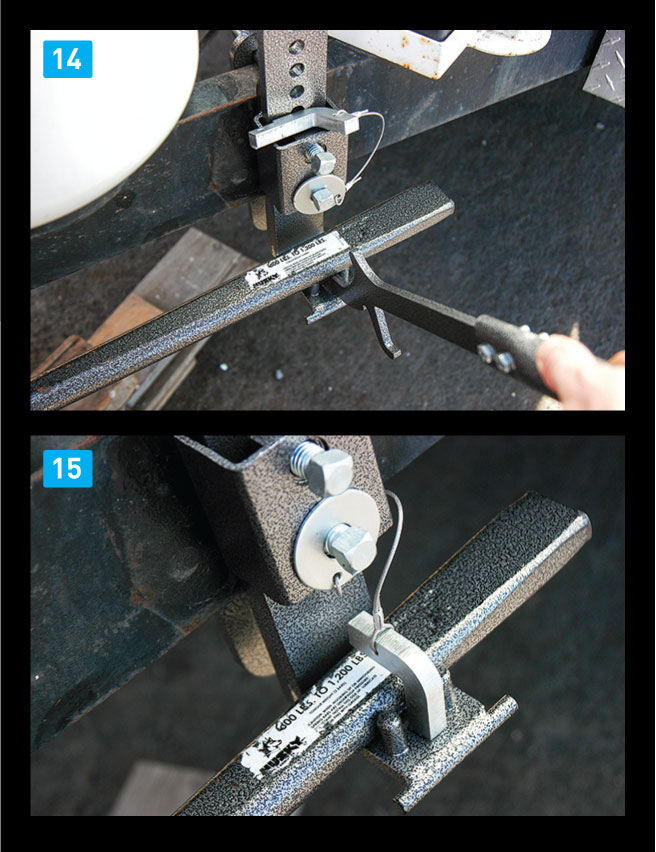 [14] Once the brackets are mounted, the spring bars are lifted into position using the lift tool. [15] The second part of the sway-control system is the result of friction created by the spring-bar ends sliding against the brackets.