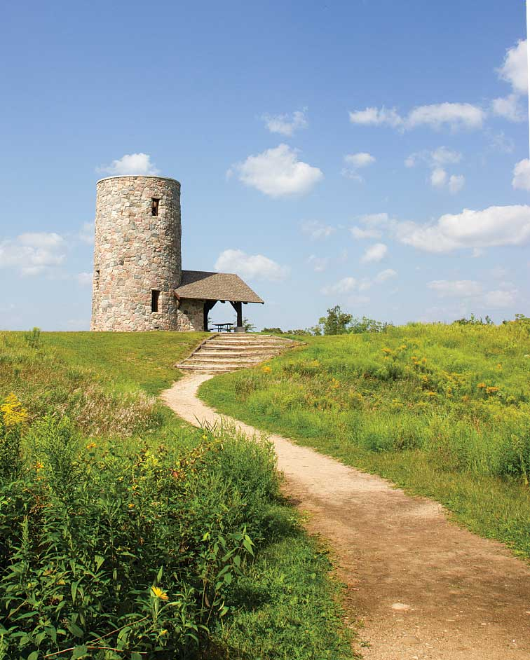 Pilot Knob State Park, the second-highest point in Iowa, got its name from pioneers traveling west in covered wagons who used this isolated hill as a guide.