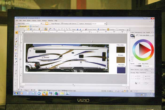 A digital photo of the trailer's side wall was taken with a camera and downloaded to VIP Enterprises' special computer-graphics program. This is done to generate a pattern for the new vinyl graphics.