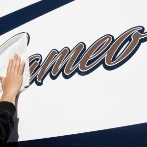 Placing new vinyl graphics is not for the faint of heart. This process is long and detailed, but the results will add many years to the look of any RV.