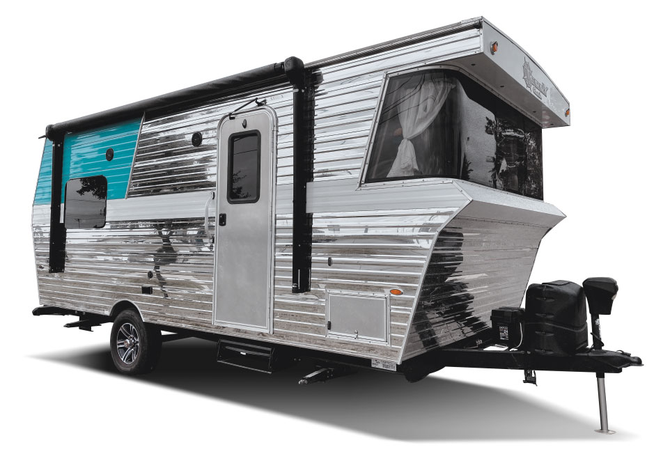 Silver and turquoise retro exterior of Terry Classic trailer