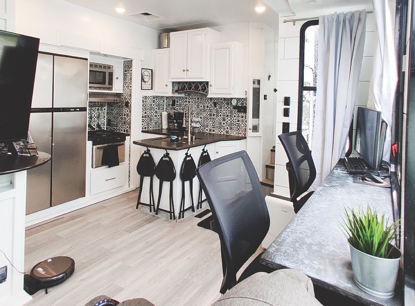 living space in a renovated RV