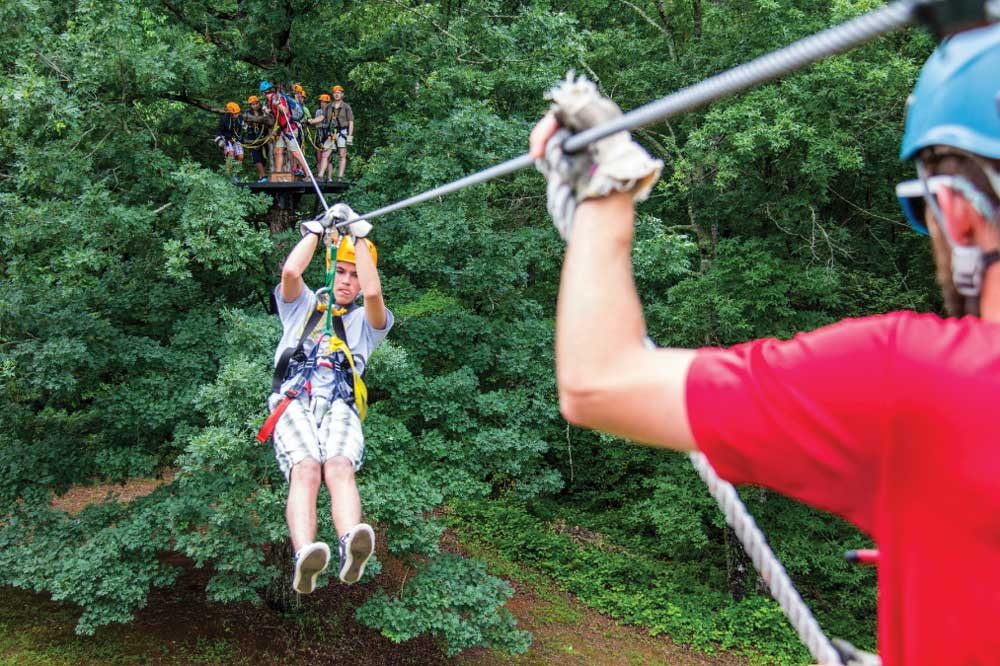 Ziplining on the Canopy Tour at Wildwater Adventures Center in Long Creek.