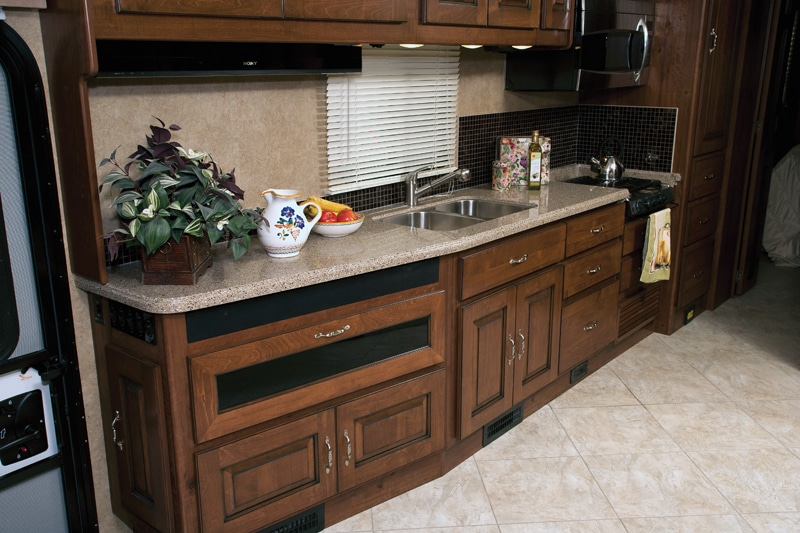 Interior amenities in the Excursion include a drop-down 40-inch LCD TV in the galley.
