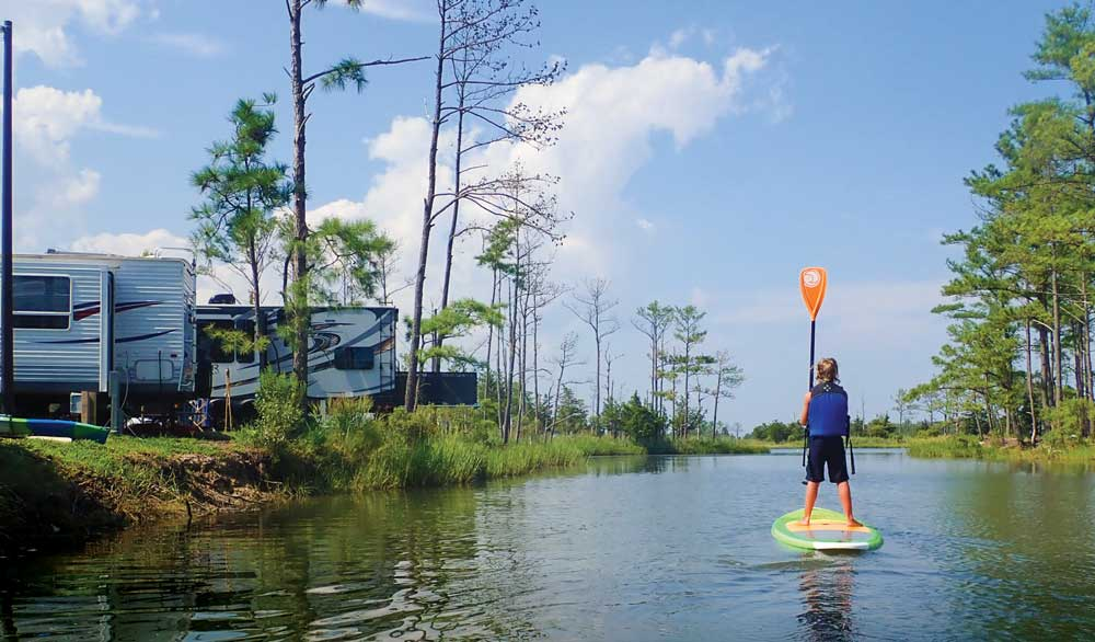 Massey's Landing in Millsboro, Delaware, is one of many RV resorts that rent recreational equipment such as standup paddleboards, kayaks, canoes and pedal boats.