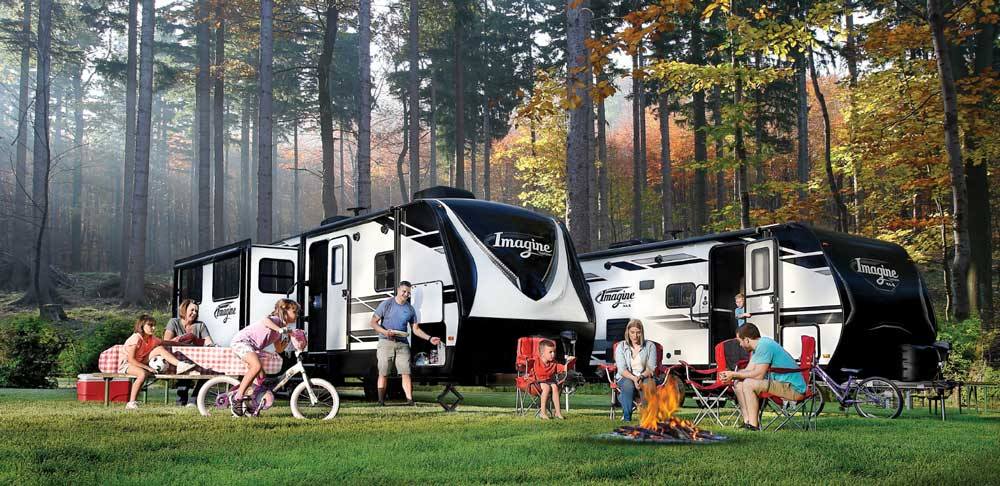 RVs and families in a campground