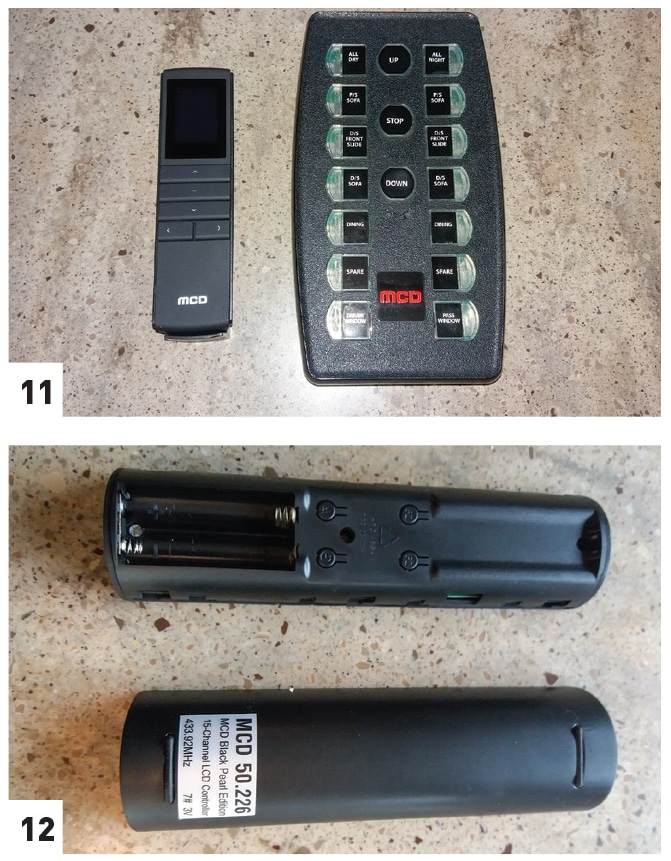 [11] The new 15-channel remote (left) is smaller than the 14-channel unit (right) and has an LCD display. [12] The faceplate of the remote is removed to change the batteries.